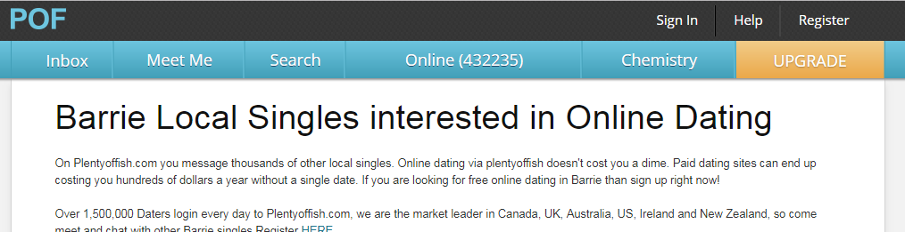 Plenty Of Fish Barrie Login And Reset
