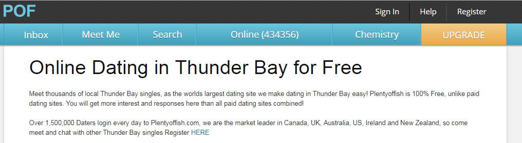 POF Thunder Bay Login And Find Thunder Bay Singles
